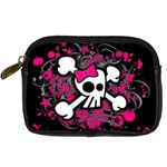 Girly Skull & Crossbones Digital Camera Leather Case