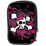 Girly Skull & Crossbones Compact Camera Leather Case