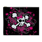 Girly Skull & Crossbones Cosmetic Bag (XL)