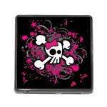 Girly Skull & Crossbones Memory Card Reader with Storage (Square)