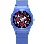 Girly Skull & Crossbones Round Plastic Sport Watch Small