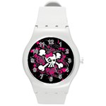 Girly Skull & Crossbones Round Plastic Sport Watch Medium