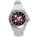 Girly Skull & Crossbones Round Plastic Sport Watch Large