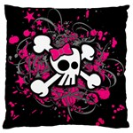 Girly Skull & Crossbones Large Cushion Case (One Side)