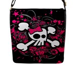 Girly Skull & Crossbones Flap Closure Messenger Bag (Large)
