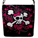 Girly Skull & Crossbones Flap closure messenger bag (Small)