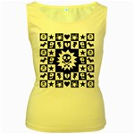 Gothic Punk Skull Women s Yellow Tank Top