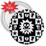 Gothic Punk Skull 3  Button (10 pack)