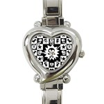 Gothic Punk Skull Heart Italian Charm Watch