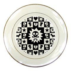 Gothic Punk Skull Porcelain Plate from ArtsNow.com Front