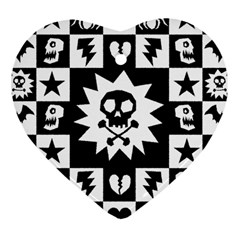 Gothic Punk Skull Heart Ornament (Two Sides) from ArtsNow.com Front