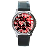 Love Heart Splatter Round Metal Watch