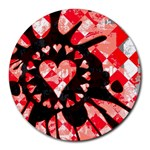 Love Heart Splatter Round Mousepad