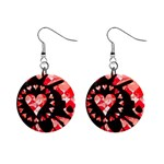 Love Heart Splatter 1  Button Earrings