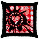 Love Heart Splatter Throw Pillow Case (Black)