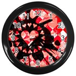 Love Heart Splatter Wall Clock (Black)