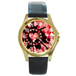 Love Heart Splatter Round Gold Metal Watch