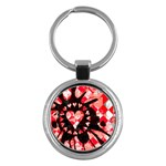 Love Heart Splatter Key Chain (Round)