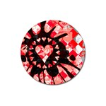 Love Heart Splatter Magnet 3  (Round)