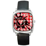 Love Heart Splatter Square Metal Watch