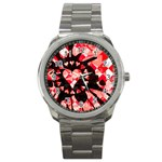 Love Heart Splatter Sport Metal Watch