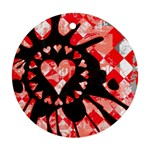 Love Heart Splatter Round Ornament (Two Sides)