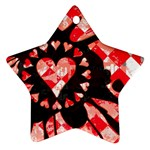 Love Heart Splatter Star Ornament (Two Sides)