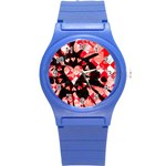 Love Heart Splatter Round Plastic Sport Watch Small