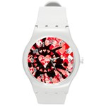 Love Heart Splatter Round Plastic Sport Watch Medium