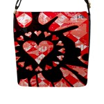 Love Heart Splatter Flap Closure Messenger Bag (Large)