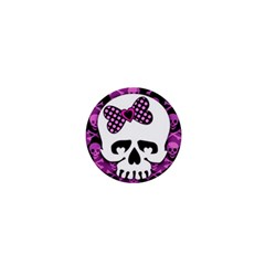 Pink Polka Dot Bow Skull 1  Mini Magnet from ArtsNow.com Front