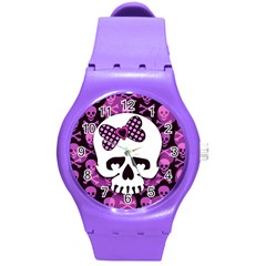 Pink Polka Dot Bow Skull Round Plastic Sport Watch Medium from ArtsNow.com Front