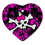Punk Skull Princess Heart Ornament (Two Sides) from ArtsNow.com Front