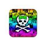 Rainbow Skull Rubber Square Coaster (4 pack)