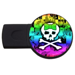 Rainbow Skull USB Flash Drive Round (4 GB) from ArtsNow.com Front