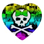 Rainbow Skull Heart Ornament (Two Sides)