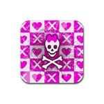 Skull Princess Rubber Square Coaster (4 pack)