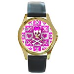 Skull Princess Round Gold Metal Watch