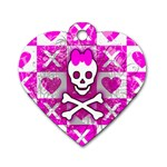 Skull Princess Dog Tag Heart (One Side)