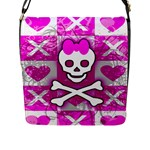 Skull Princess Flap Closure Messenger Bag (Large)