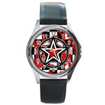 Star Checkerboard Splatter Round Metal Watch