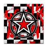 Star Checkerboard Splatter Tile Coaster