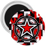 Star Checkerboard Splatter 3  Magnet