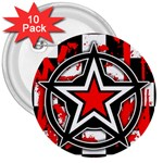 Star Checkerboard Splatter 3  Button (10 pack)