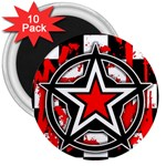 Star Checkerboard Splatter 3  Magnet (10 pack)