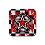 Star Checkerboard Splatter Rubber Square Coaster (4 pack)