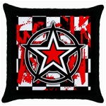 Star Checkerboard Splatter Throw Pillow Case (Black)