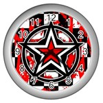 Star Checkerboard Splatter Wall Clock (Silver)