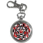 Star Checkerboard Splatter Key Chain Watch