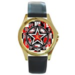 Star Checkerboard Splatter Round Gold Metal Watch